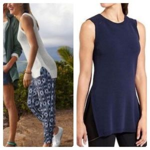 ATHLETA Long And Lean Sweater Tunic Vest Navy